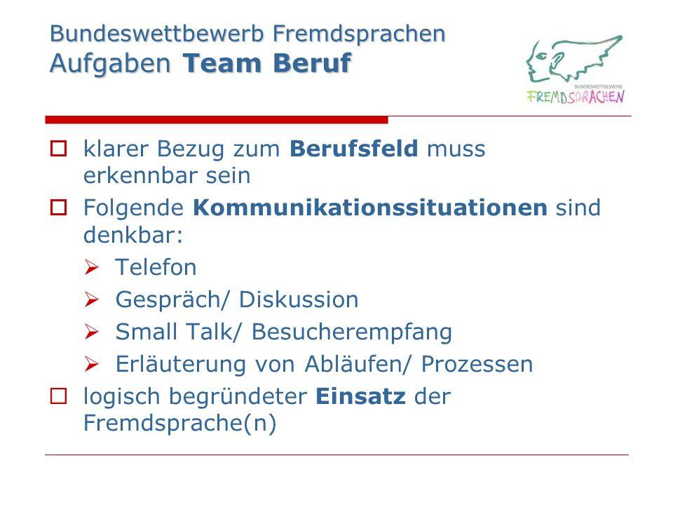 Bundeswettbewerb Fremdsprachen Aufgaben Team Beruf klarer Bezug zum Berufsfeld muss erkennbar sein Folgende Kommunikationssituationen sind denkbar: Te