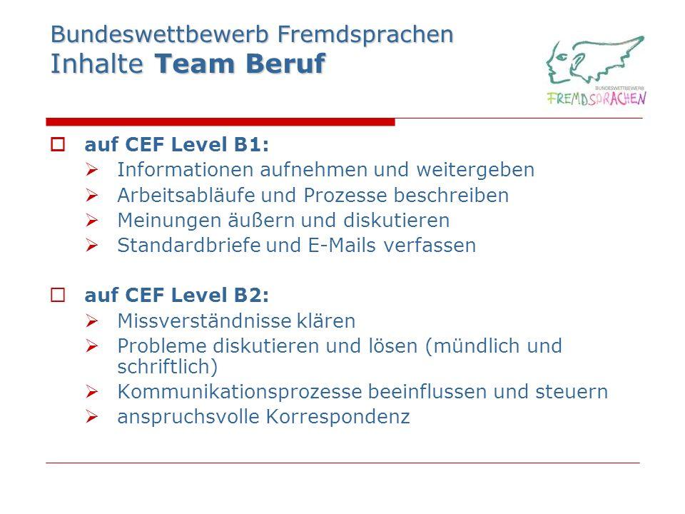 Bundeswettbewerb Fremdsprachen Inhalte Team Beruf auf CEF Level B1: Informationen aufnehmen und weitergeben Arbeitsabläufe und Prozesse beschreiben Me