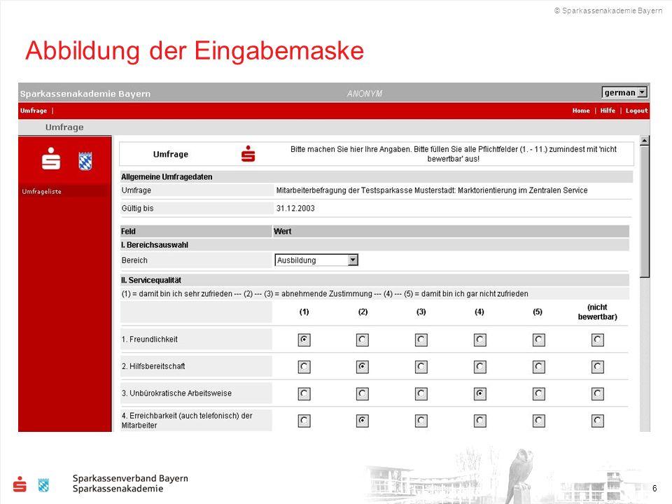 © Sparkassenakademie Bayern 6 Abbildung der Eingabemaske