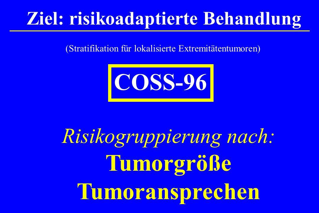 (Stratifikation für lokalisierte Extremitätentumoren) COSS-96 Risikogruppierung nach: Tumorgröße Tumoransprechen Ziel: risikoadaptierte Behandlung