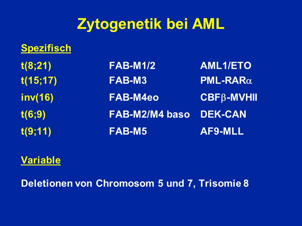 Risk Definition for AML-BFM Studies Standard Risk FAB M1/2 Auer pos M3 M4Eo In addition: Blasts in BM <5% day 15 except M3 High Risk Correlating Survival Karyotype 7 years t(8;21) t(15;17) >75% inv(16) all others 41%