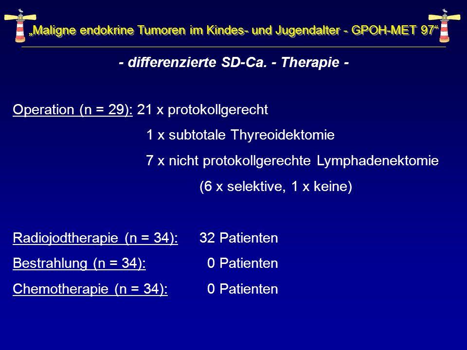 Maligne endokrine Tumoren im Kindes- und Jugendalter - GPOH-MET 97 - differenzierte SD-Ca. - Therapie - Operation (n = 29): 21 x protokollgerecht 1 x