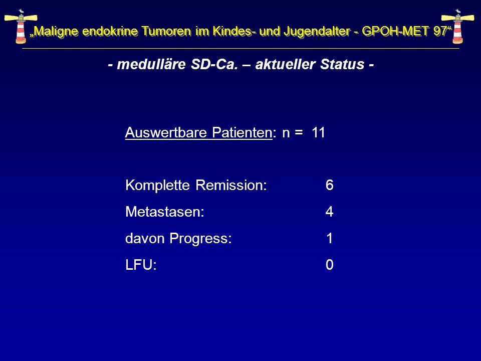 Auswertbare Patienten: n = 11 Komplette Remission: 6 Metastasen: 4 davon Progress: 1 LFU: 0 Maligne endokrine Tumoren im Kindes- und Jugendalter - GPO