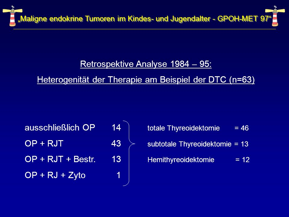 Maligne endokrine Tumoren im Kindes- und Jugendalter - GPOH-MET 97 Retrospektive Analyse 1984 – 95: Heterogenität der Therapie am Beispiel der DTC (n=