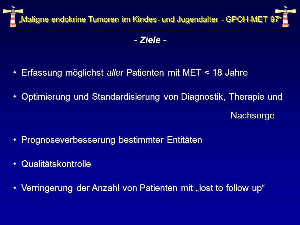 - Ziele - Erfassung möglichst aller Patienten mit MET < 18 Jahre Optimierung und Standardisierung von Diagnostik, Therapie und Nachsorge Prognoseverbe