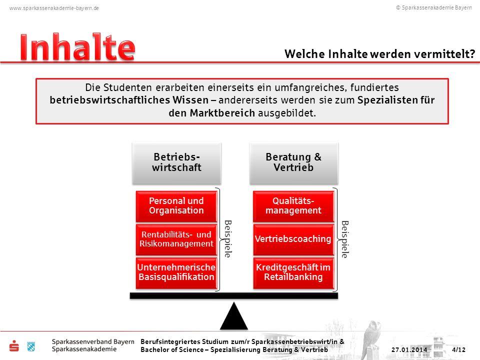 © Sparkassenakademie Bayern www.sparkassenakademie-bayern.de Berufsintegriertes Studium zum/r Sparkassenbetriebswirt/in & Bachelor of Science – Spezialisierung Beratung & Vertrieb 6.