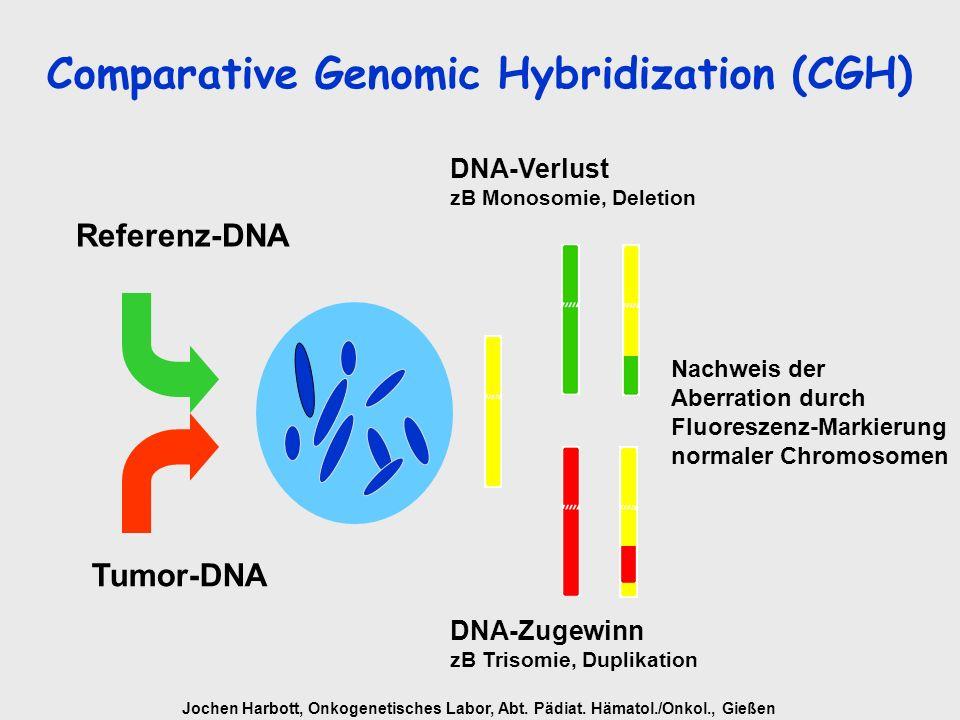 Jochen Harbott, Onkogenetisches Labor, Abt. Pädiat. Hämatol./Onkol., Gießen Tumor-DNA Referenz-DNA DNA-Verlust zB Monosomie, Deletion DNA-Zugewinn zB