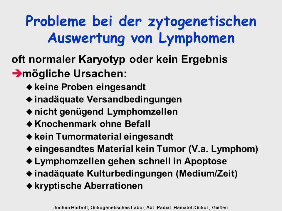 Jochen Harbott, Onkogenetisches Labor, Abt. Pädiat. Hämatol./Onkol., Gießen Probleme bei der zytogenetischen Auswertung von Lymphomen oft normaler Kar