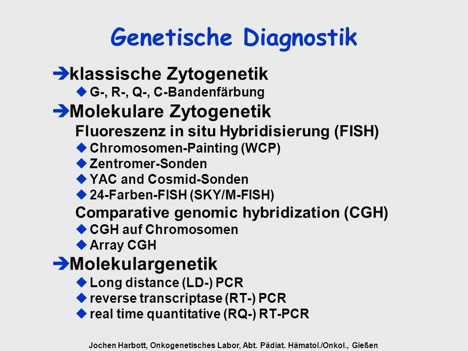 Jochen Harbott, Onkogenetisches Labor, Abt. Pädiat. Hämatol./Onkol., Gießen Genetische Diagnostik èklassische Zytogenetik G-, R-, Q-, C-Bandenfärbung