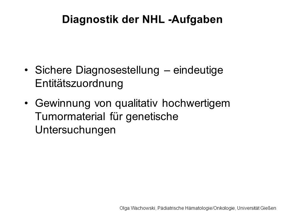 Diagnostik der NHL -Aufgaben Sichere Diagnosestellung – eindeutige Entitätszuordnung Gewinnung von qualitativ hochwertigem Tumormaterial für genetisch