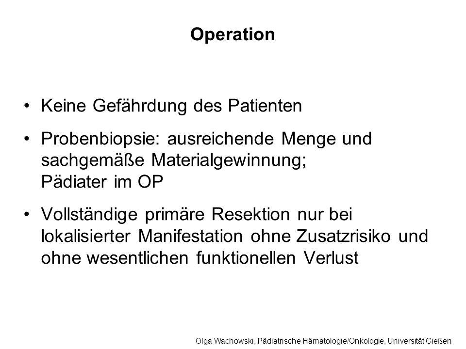 Operation Keine Gefährdung des Patienten Probenbiopsie: ausreichende Menge und sachgemäße Materialgewinnung; Pädiater im OP Vollständige primäre Resek