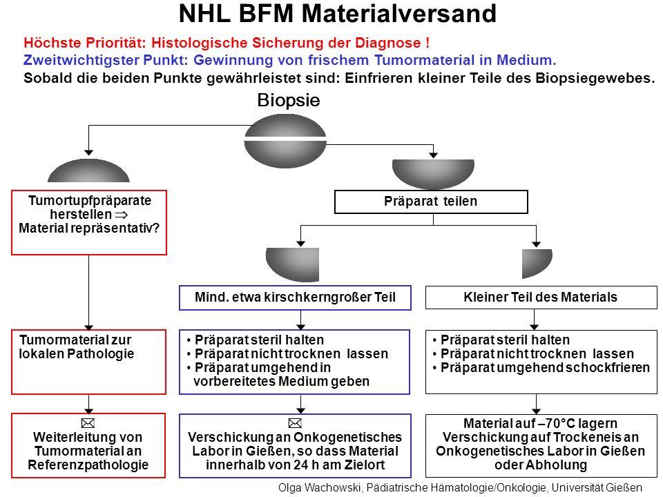 NHL BFM Materialversand Höchste Priorität: Histologische Sicherung der Diagnose ! Zweitwichtigster Punkt: Gewinnung von frischem Tumormaterial in Medi