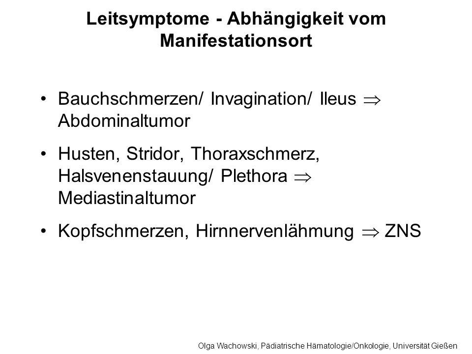 Leitsymptome - Abhängigkeit vom Manifestationsort Bauchschmerzen/ Invagination/ Ileus Abdominaltumor Husten, Stridor, Thoraxschmerz, Halsvenenstauung/