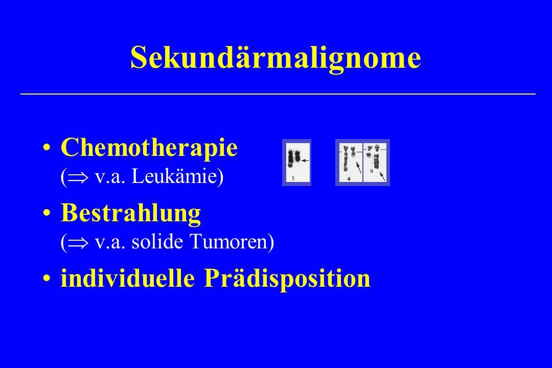 Chemotherapie ( v.a. Leukämie) Bestrahlung ( v.a. solide Tumoren) individuelle Prädisposition Sekundärmalignome