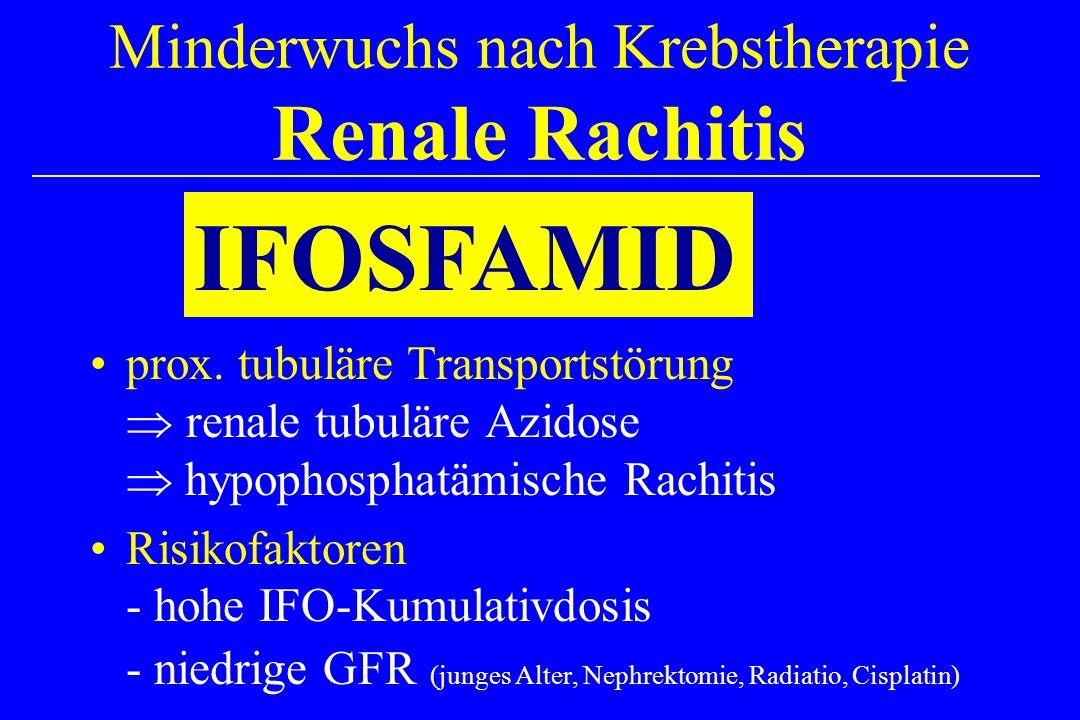 Minderwuchs nach Krebstherapie Renale Rachitis prox. tubuläre Transportstörung renale tubuläre Azidose hypophosphatämische Rachitis Risikofaktoren - h
