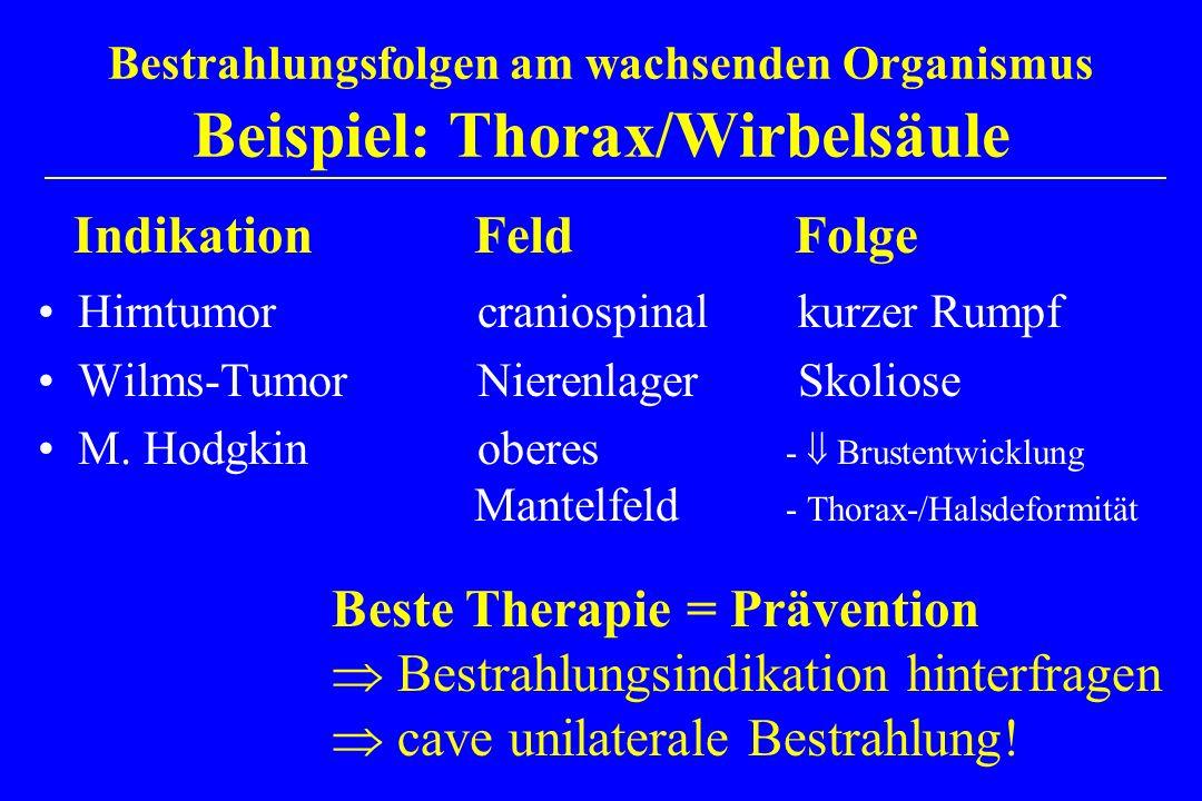 Bestrahlungsfolgen am wachsenden Organismus Beispiel: Thorax/Wirbelsäule Hirntumor craniospinal kurzer Rumpf Wilms-Tumor Nierenlager Skoliose M. Hodgk