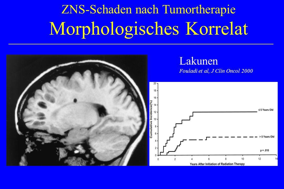 ZNS-Schaden nach Tumortherapie Morphologisches Korrelat Lakunen Fouladi et al, J Clin Oncol 2000