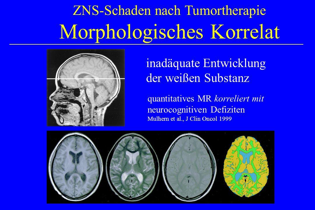 ZNS-Schaden nach Tumortherapie Morphologisches Korrelat inadäquate Entwicklung der weißen Substanz quantitatives MR korreliert mit neurocognitiven Defiziten Mulhern et al., J Clin Oncol 1999