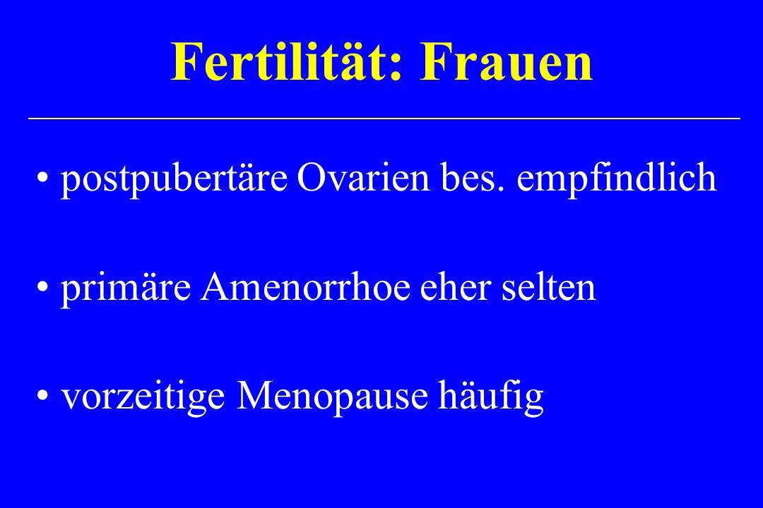postpubertäre Ovarien bes. empfindlich primäre Amenorrhoe eher selten vorzeitige Menopause häufig Fertilität: Frauen