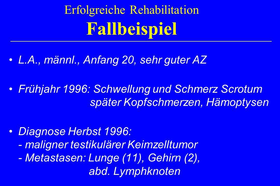 Erfolgreiche Rehabilitation Fallbeispiel L.A., männl., Anfang 20, sehr guter AZ Frühjahr 1996: Schwellung und Schmerz Scrotum später Kopfschmerzen, Hä