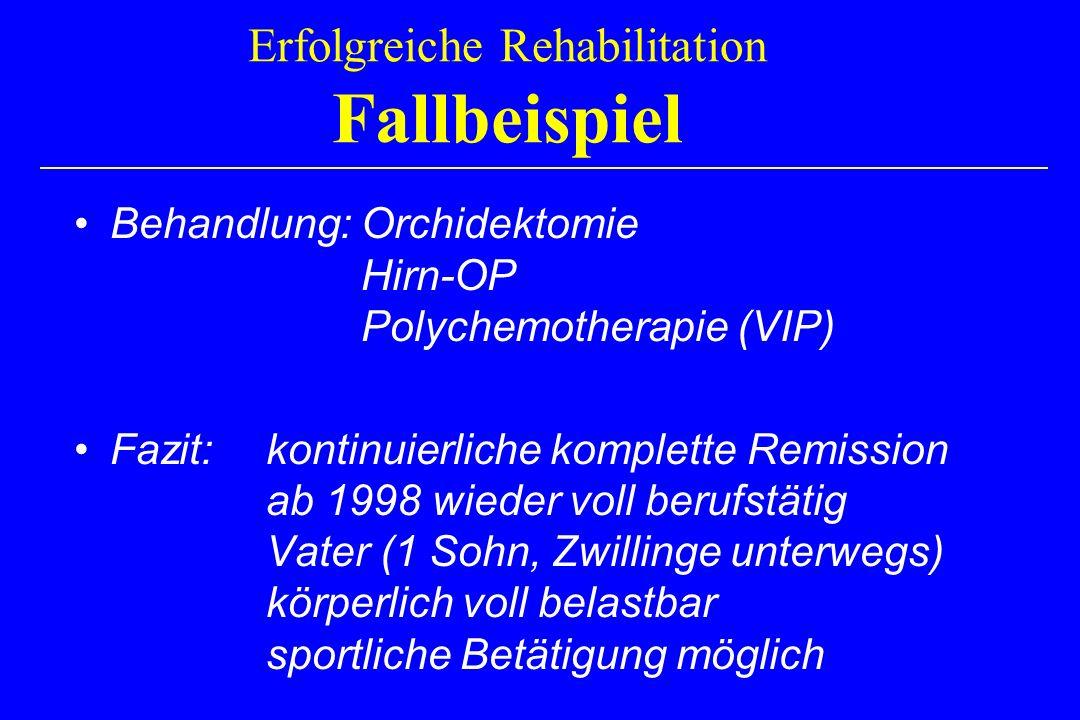 Erfolgreiche Rehabilitation Fallbeispiel Behandlung: Orchidektomie Hirn-OP Polychemotherapie (VIP) Fazit: kontinuierliche komplette Remission ab 1998