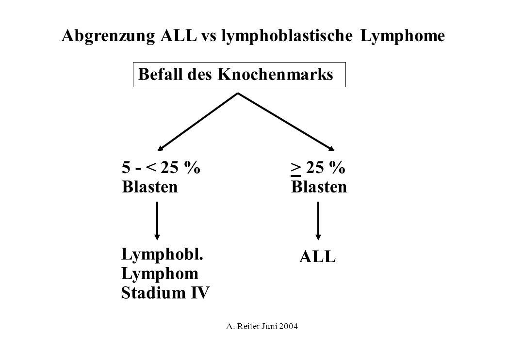A. Reiter Juni 2004 Abgrenzung ALL vs lymphoblastische Lymphome Befall des Knochenmarks 5 - < 25 % Blasten > 25 % Blasten Lymphobl. Lymphom Stadium IV