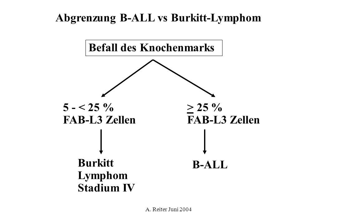 A. Reiter Juni 2004 Abgrenzung B-ALL vs Burkitt-Lymphom Befall des Knochenmarks 5 - < 25 % FAB-L3 Zellen > 25 % FAB-L3 Zellen Burkitt Lymphom Stadium