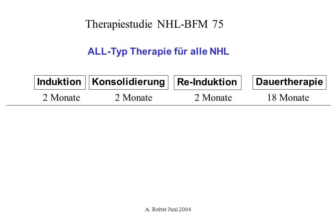 A. Reiter Juni 2004 ALL-Typ Therapie für alle NHL InduktionKonsolidierung Re-Induktion Dauertherapie 2 Monate 18 Monate Therapiestudie NHL-BFM 75