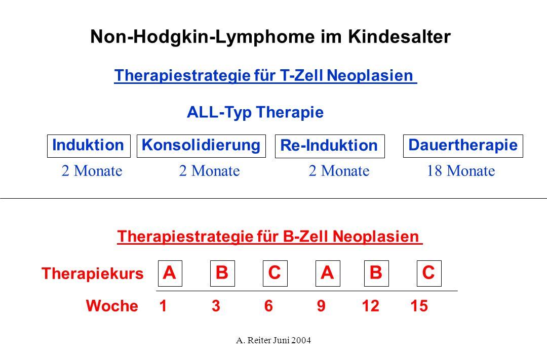 A. Reiter Juni 2004 Therapiestrategie für B-Zell Neoplasien ABCABC Woche13691215 Therapiekurs ALL-Typ Therapie InduktionKonsolidierung Re-Induktion Da