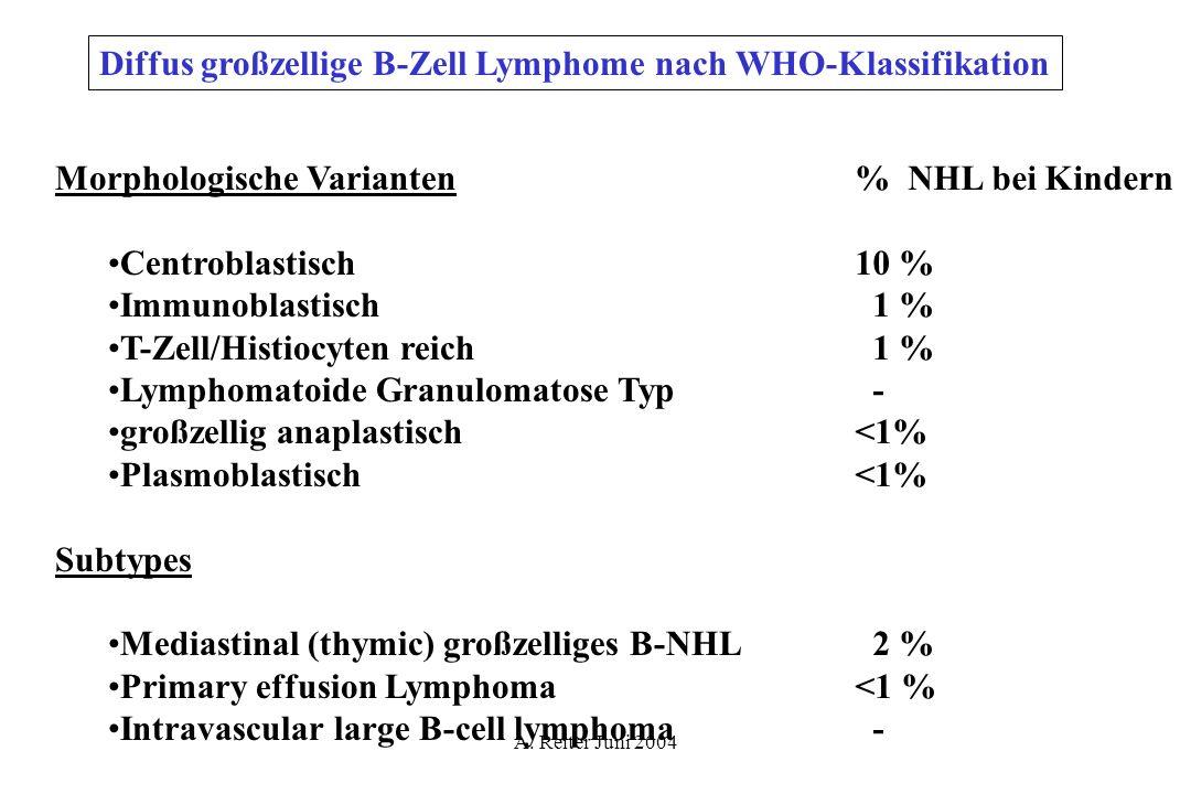 A. Reiter Juni 2004 Diffus großzellige B-Zell Lymphome nach WHO-Klassifikation Morphologische Varianten Centroblastisch Immunoblastisch T-Zell/Histioc