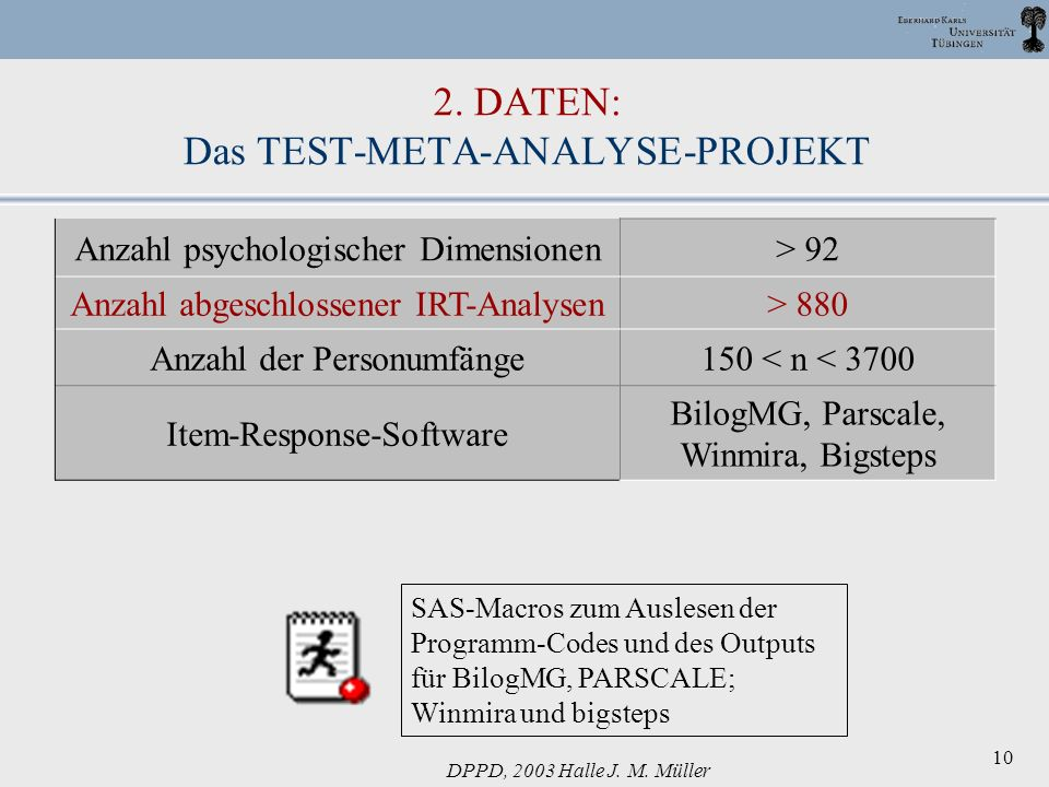 DPPD, 2003 Halle J. M. Müller 10 2. DATEN: Das TEST-META-ANALYSE-PROJEKT Anzahl psychologischer Dimensionen> 92 Anzahl abgeschlossener IRT-Analysen> 8