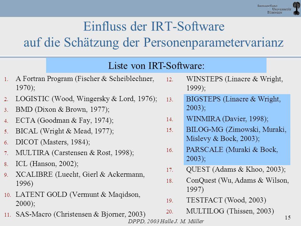 DPPD, 2003 Halle J. M. Müller 15 1. A Fortran Program (Fischer & Scheiblechner, 1970); 2. LOGISTIC (Wood, Wingersky & Lord, 1976); 3. BMD (Dixon & Bro