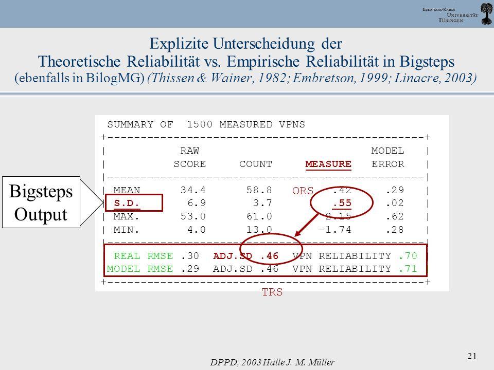 DPPD, 2003 Halle J. M. Müller 21 Explizite Unterscheidung der Theoretische Reliabilität vs. Empirische Reliabilität in Bigsteps (ebenfalls in BilogMG)