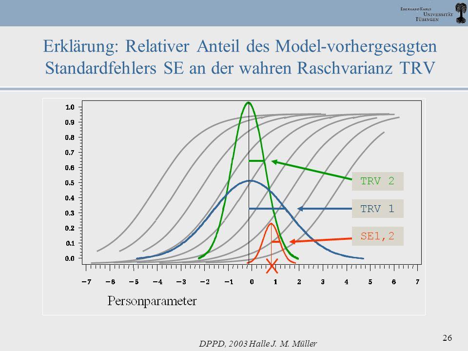 DPPD, 2003 Halle J. M. Müller 26 Erklärung: Relativer Anteil des Model-vorhergesagten Standardfehlers SE an der wahren Raschvarianz TRV SE1,2 TRV 1 TR