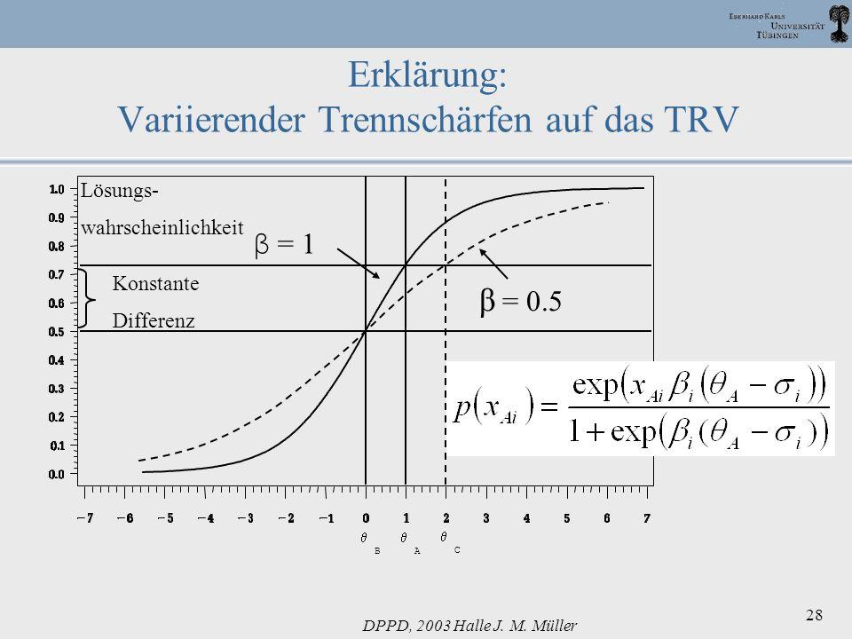 DPPD, 2003 Halle J. M. Müller 28 Erklärung: Variierender Trennschärfen auf das TRV Lösungs- wahrscheinlichkeit β = 1 B A Konstante Differenz C β = 0.5