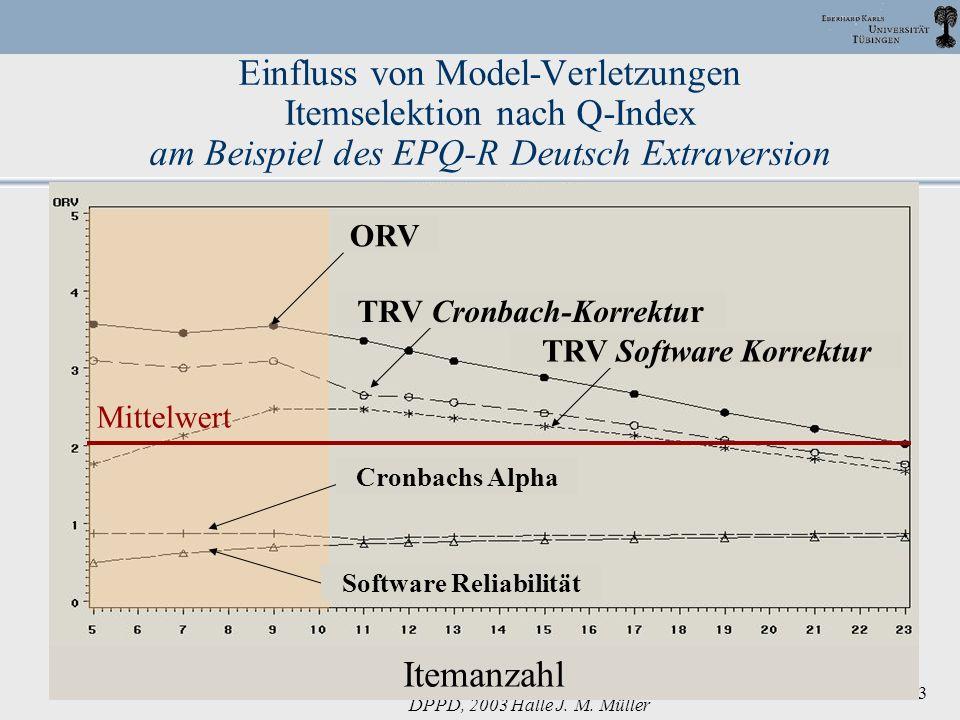 DPPD, 2003 Halle J. M. Müller 33 Einfluss von Model-Verletzungen Itemselektion nach Q-Index am Beispiel des EPQ-R Deutsch Extraversion Cronbachs Alpha