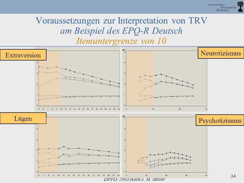 DPPD, 2003 Halle J. M. Müller 34 Voraussetzungen zur Interpretation von TRV am Beispiel des EPQ-R Deutsch Itemuntergrenze von 10 Neurotizismus Psychot