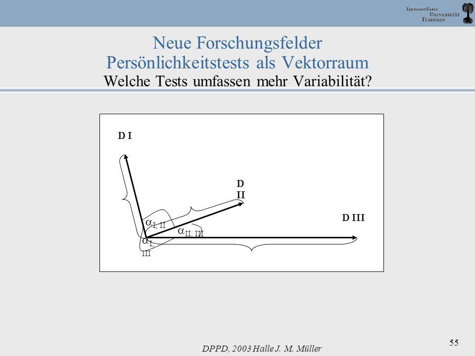 DPPD, 2003 Halle J. M. Müller 55 Neue Forschungsfelder Persönlichkeitstests als Vektorraum Welche Tests umfassen mehr Variabilität? D I D II D III II,