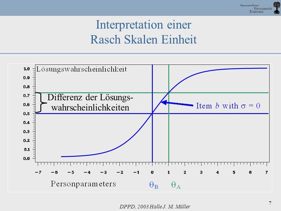 DPPD, 2003 Halle J. M. Müller 7 Interpretation einer Rasch Skalen Einheit Differenz der Lösungs- wahrscheinlichkeiten