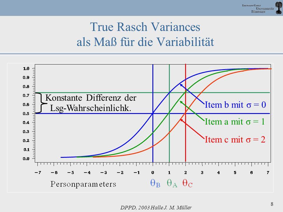 DPPD, 2003 Halle J. M. Müller 8 True Rasch Variances als Maß für die Variabilität Konstante Differenz der Lsg-Wahrscheinlichk. Item b mit σ = 0Item a
