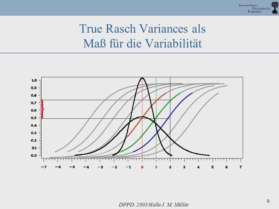 DPPD, 2003 Halle J. M. Müller 9 True Rasch Variances als Maß für die Variabilität