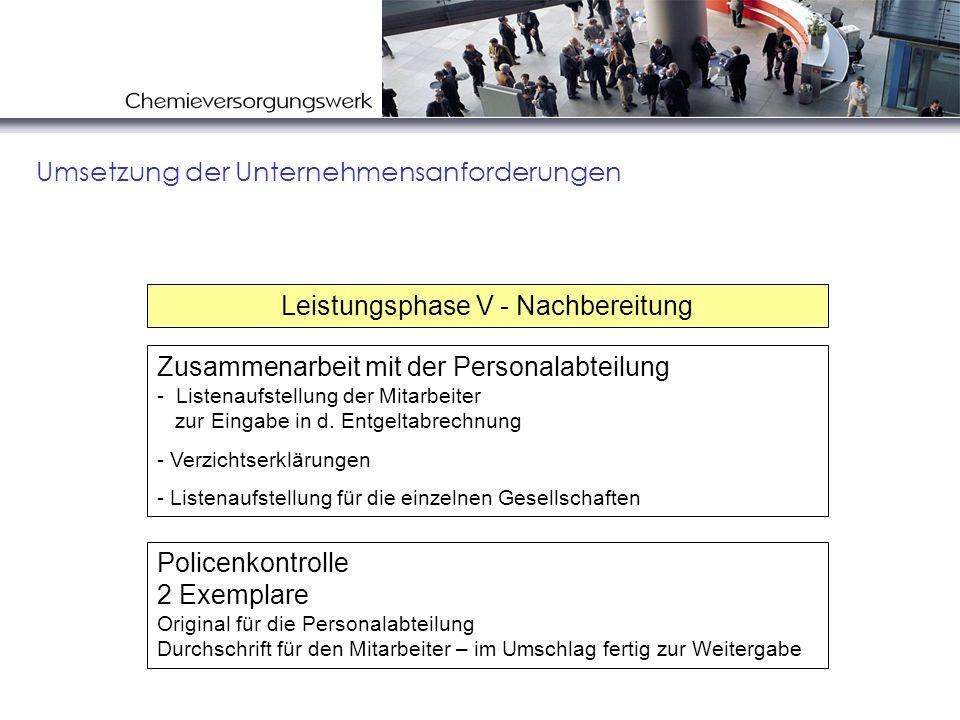 Umsetzung der Unternehmensanforderungen Zusammenarbeit mit der Personalabteilung - Listenaufstellung der Mitarbeiter zur Eingabe in d. Entgeltabrechnu