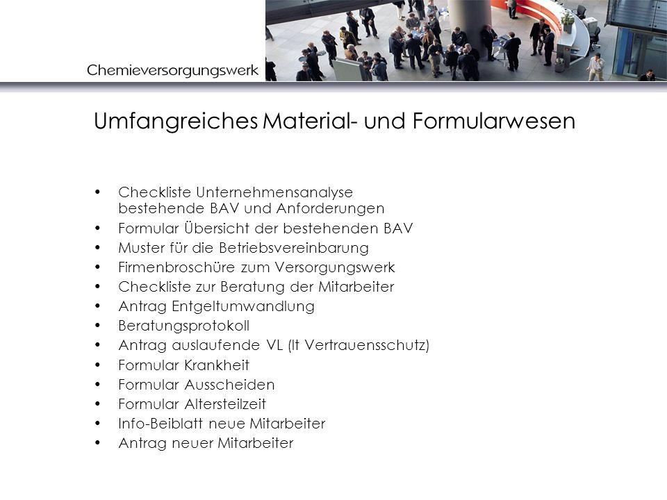 Umfangreiches Material- und Formularwesen Checkliste Unternehmensanalyse bestehende BAV und Anforderungen Formular Übersicht der bestehenden BAV Muste