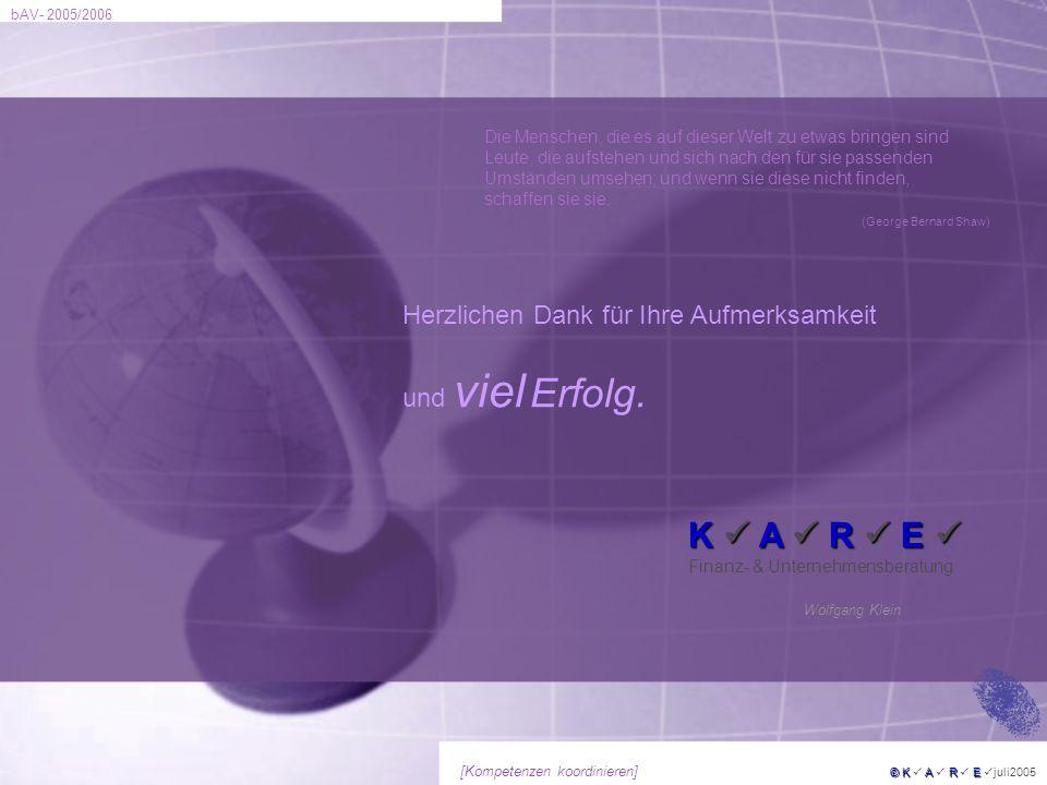 bAV- 2005/2006 © KARE © K A R E juli2005 [Kompetenzen koordinieren] Herzlichen Dank für Ihre Aufmerksamkeit und viel Erfolg. Wolfgang Klein K A R E K