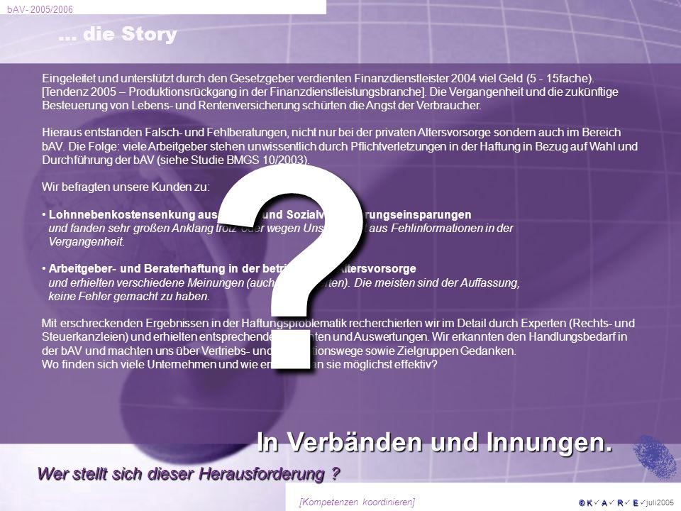 bAV- 2005/2006 © KARE © K A R E juli2005 [Kompetenzen koordinieren] … die Story Eingeleitet und unterstützt durch den Gesetzgeber verdienten Finanzdie
