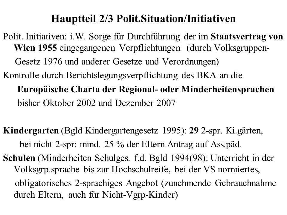 Hauptteil 2/3 Polit.Situation/Initiativen Polit. Initiativen: i.W. Sorge für Durchführung der im Staatsvertrag von Wien 1955 eingegangenen Verpflichtu