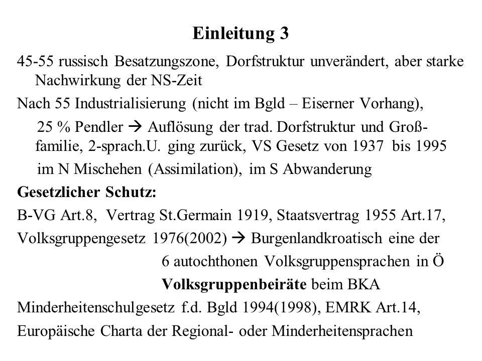 Einleitung 4 Statistik: Volkszählung 1991 2001 (dav.im Ausl.geb.) Burgenlandkroatisch 19374 (431) (inkl.Kroat.u.