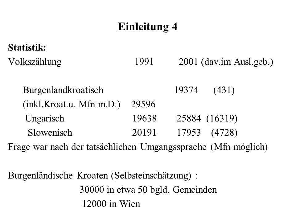 Einleitung 4 Statistik: Volkszählung 1991 2001 (dav.im Ausl.geb.) Burgenlandkroatisch 19374 (431) (inkl.Kroat.u. Mfn m.D.) 29596 Ungarisch 19638 25884
