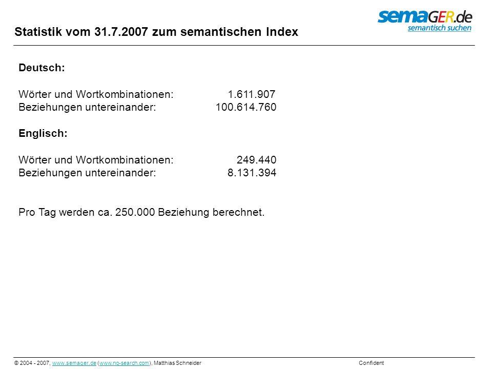 © 2004 - 2007, www.semager.de (www.ng-search.com), Matthias Schneider Confidentwww.semager.dewww.ng-search.com Statistik vom 31.7.2007 zum semantische
