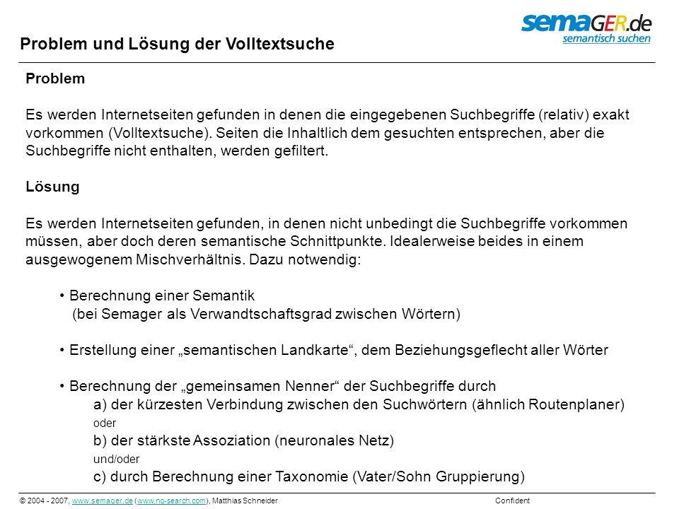 © 2004 - 2007, www.semager.de (www.ng-search.com), Matthias Schneider Confidentwww.semager.dewww.ng-search.com Neuronale Berechnung Berechnung: die stärkste Assoziation Mit den bekannten Wortverwandschaften lässt sich ein Neuronales-Netz erstellen (Wörter als Neuronen, Stärke der Beziehung als Synapsen, Richtung als Dendrit oder Axon).